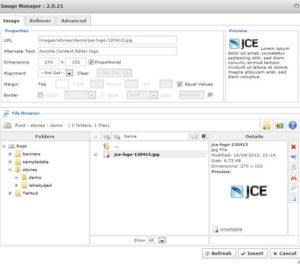 Joomla image manager