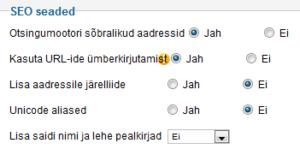 Joomla SEO seaded