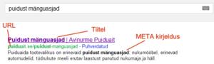 URL, tiitel ja META kirjeldus kodulehel