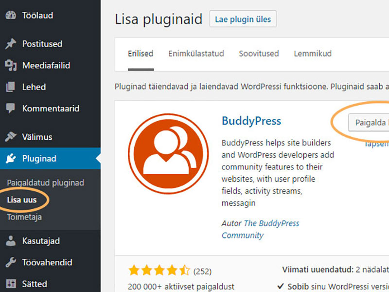 WordPress plugina paigaldamine
