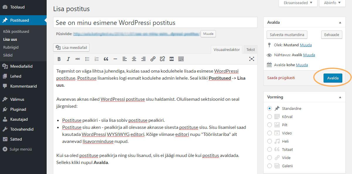 WordPressi postituse lisamine