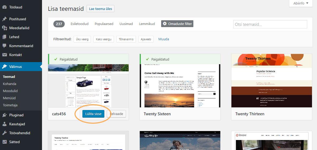 WordPressi teema paigaldamine - teema sisse lülitamine
