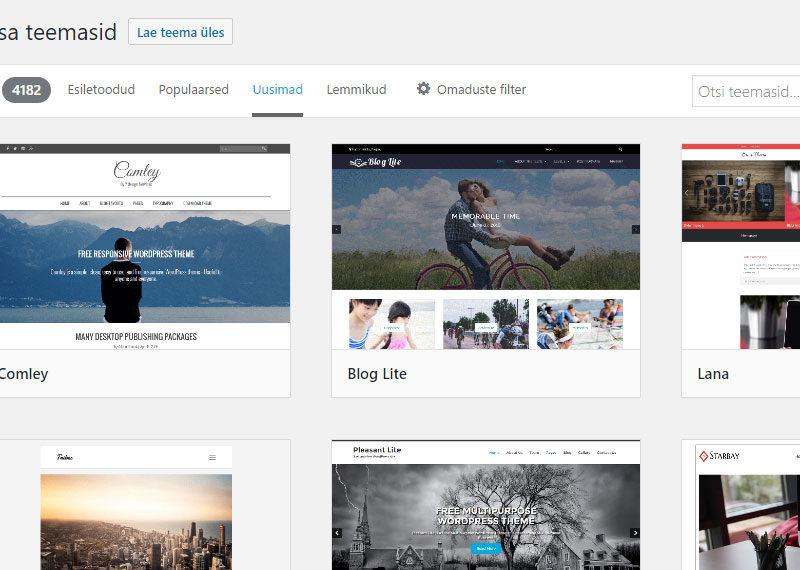 WordPressi admin - teemade loetelu