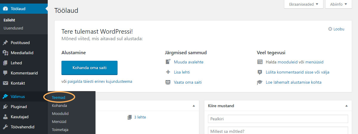 WordPressi teema paigaldamine - Välimus -> Teemad