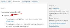 WordPressi uuendamine - bugfixes